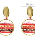 Aros Mostacilla Cristal Rojo Enchapado Oro 18 K