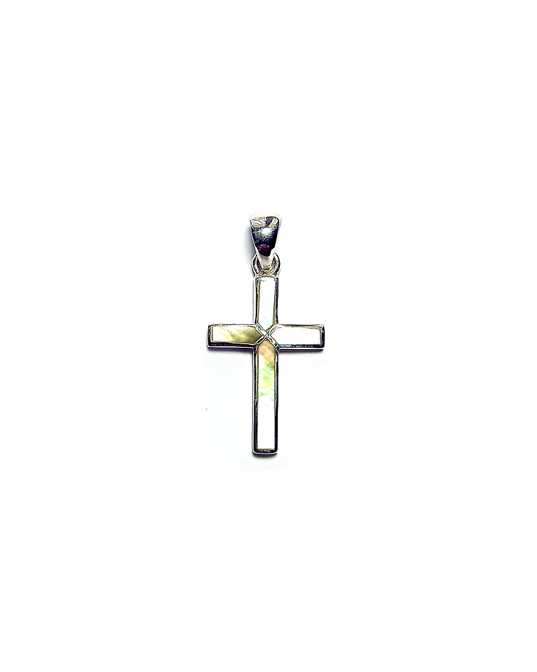 Colgante Nácar Cruz Plata Fina 925