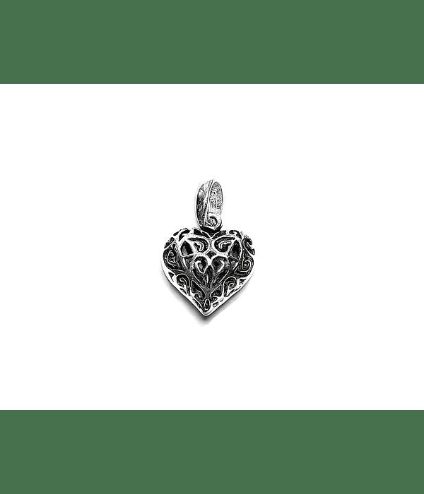 Colgante Corazón Calado Plata Fina 925