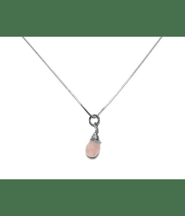 Collar Gota Cuarzo Rosa Plata Fina 925