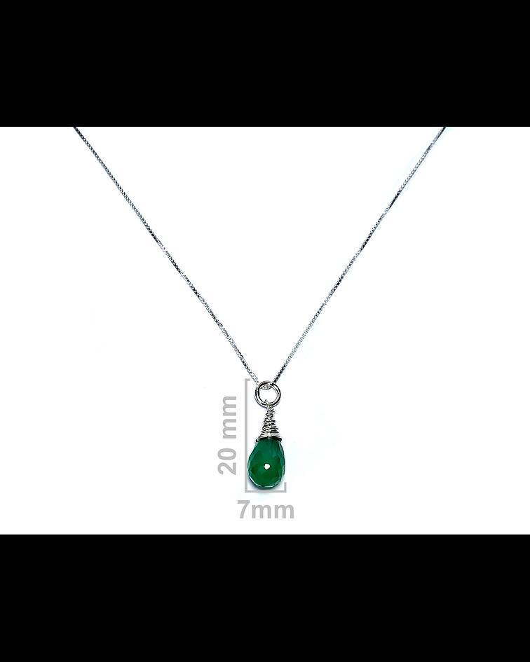 Collar Gota Jade Plata Fina 925