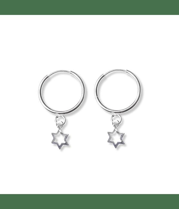 Aros Argolla Estrella Colgante Plata Fina 925