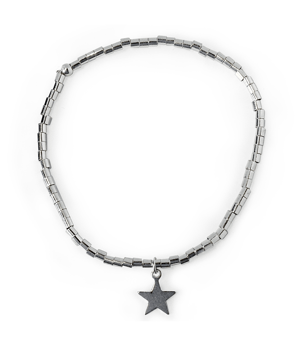 Pulsera Estrella Mostacillas Plata Fina 925