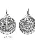 Colgante Medalla San Benito 22mm Plata Fina 925