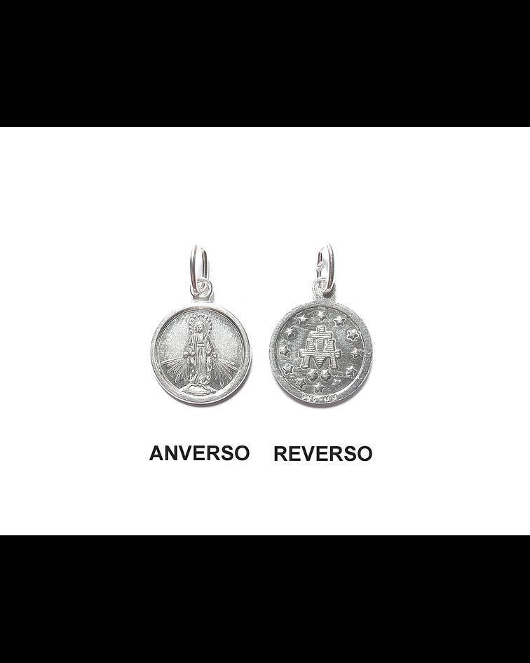 Colgante Medalla Virgen De Los Rayos 12mm Plata Fina 925