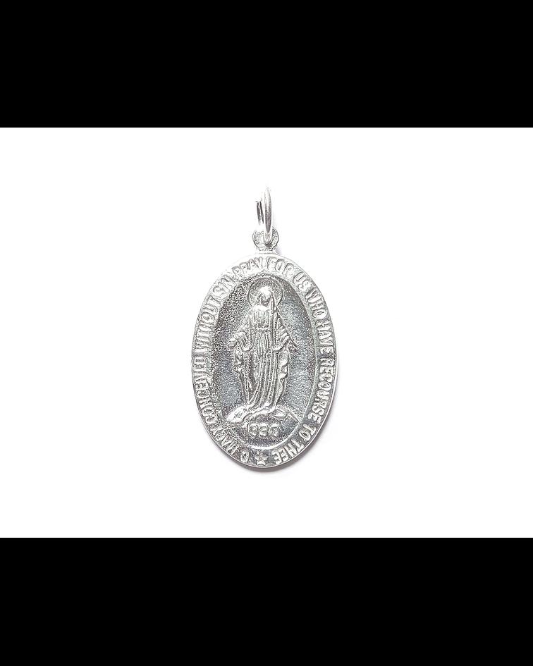 Colgante Virgen De Los Rayos 33mm Plata Fina 925