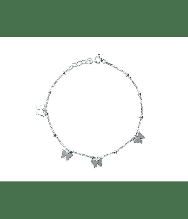 Pulsera Mariposas Bolitas Plata Fina 925