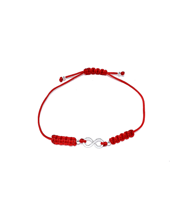 Pulsera Infinito Plano Plata Fina 925 Cordón Rojo