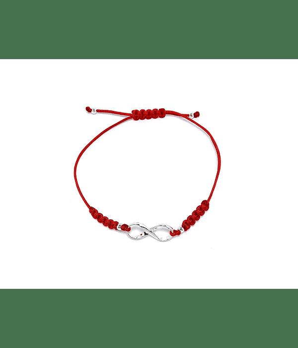 Pulsera Infinito Torcido Plata Fina 925 Cordón Rojo