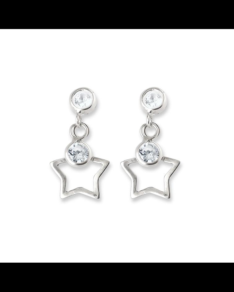 Aros Estrella Calada Colgante Tope 2 Circones Plata Fina 925