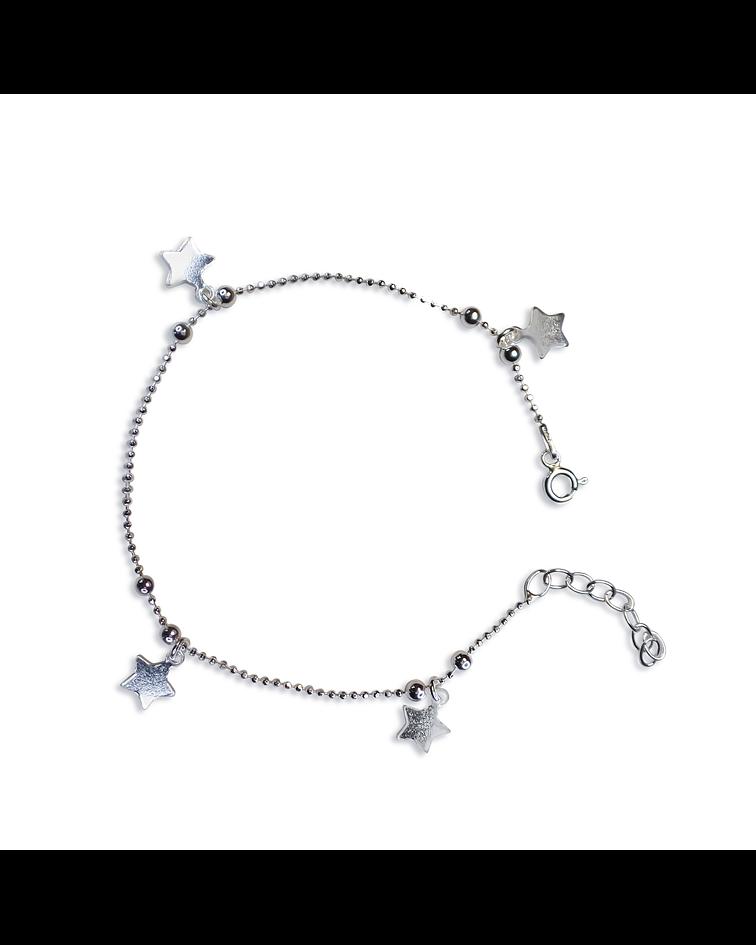 Pulsera 4 Estrellas Bolitas Cadena Bolitas Plata Fina 925