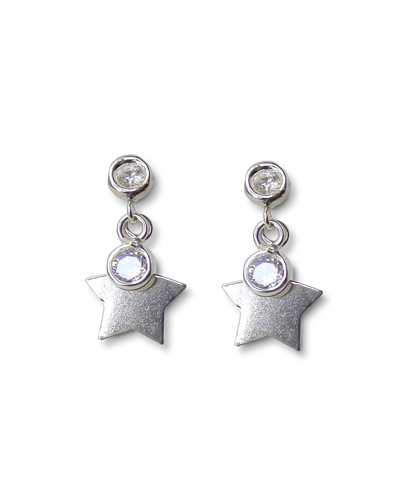 Aros Estrella Tope 2 Circones Plata Fina 925