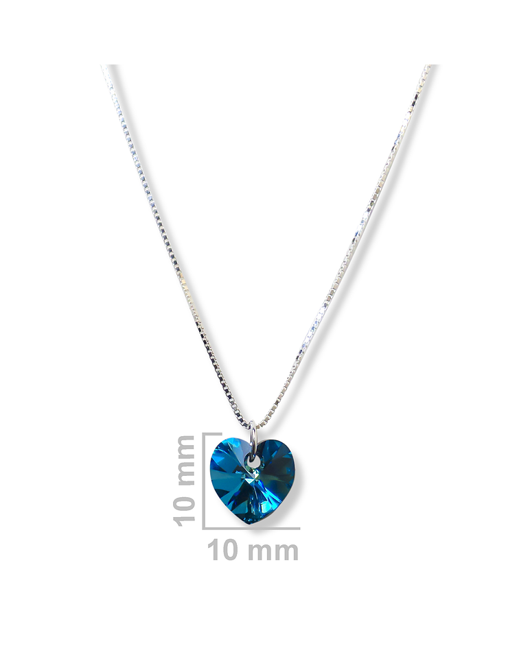 Collar Corazón Cristal Austríaco Cadena Veneciana Plata Fina 925