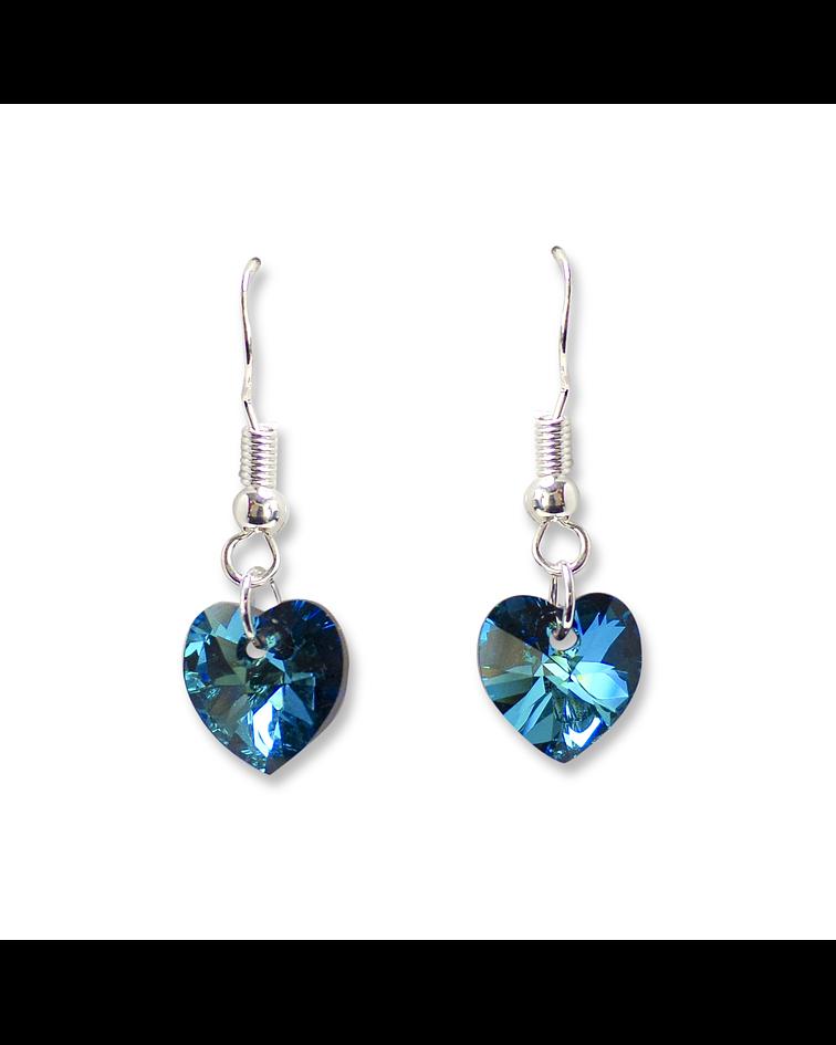Aros Corazón Azul Cristal Austríaco Colgantes Plata Fina 925