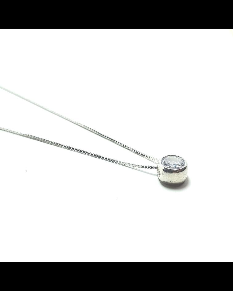 Collar Circón 6mm Punto de Luz Cadena Veneciana Plata Fina 925