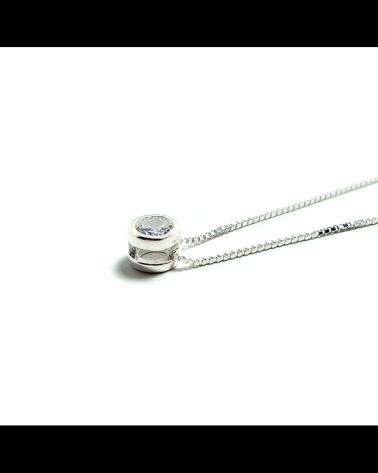 Collar Circón 4mm Punto Luz Cadena Veneciana Plata Fina 925