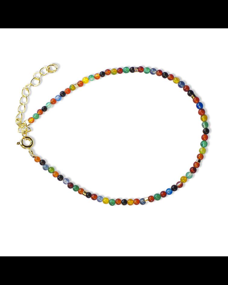 Pulsera Ágatas Colores Mostacilla Enchapada Oro 18 K