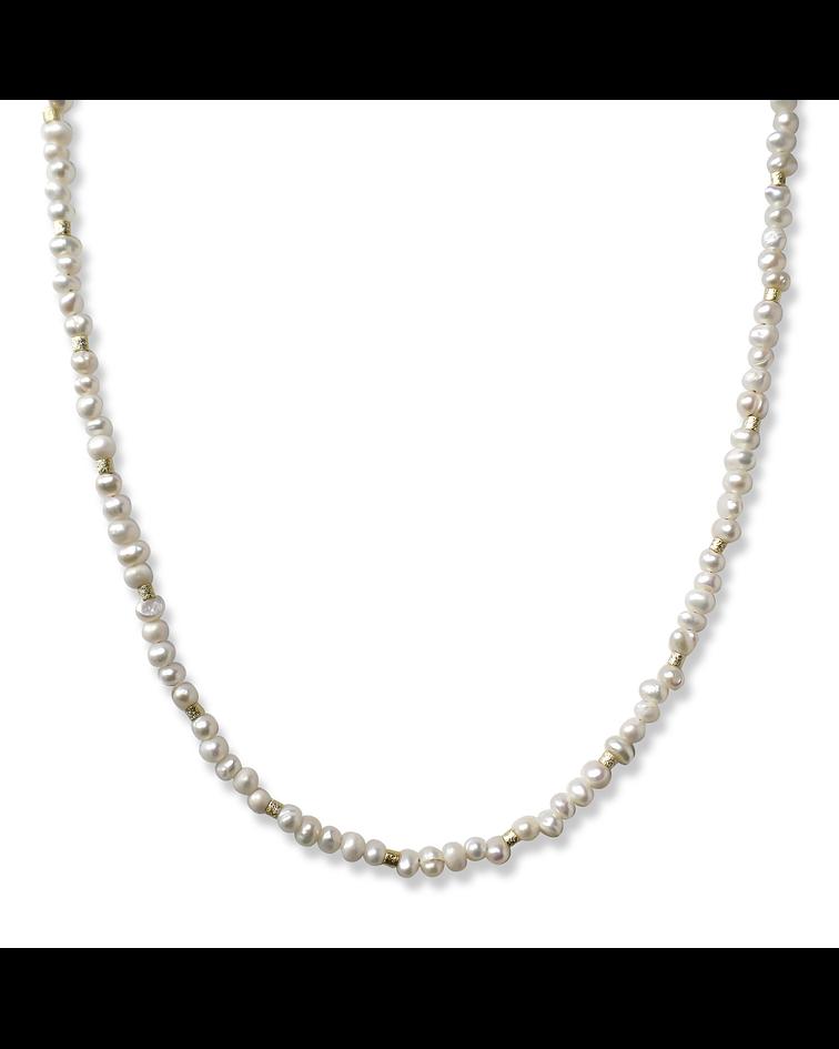 Collar Perlas Río Mostacillas Enchapadas Oro 18K