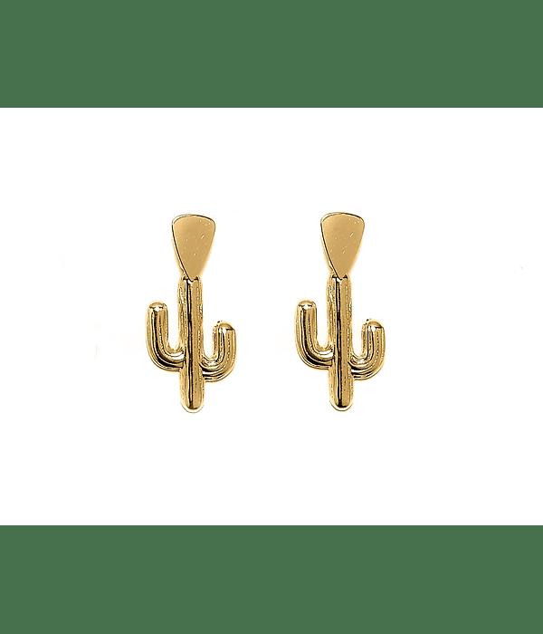 Aros Cactus Colgante Tope Triángulo Enchapado Oro 18 K