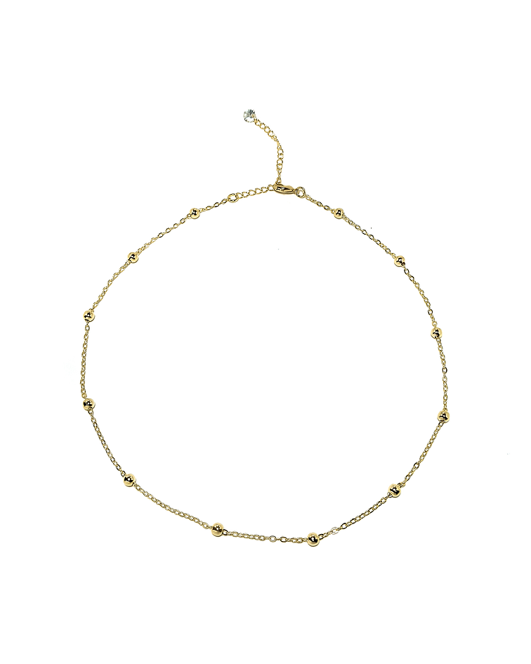 Collar Choker Bolitas Enchapado Oro 18 K