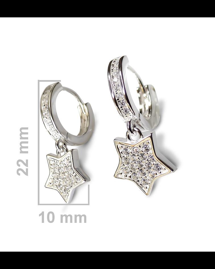 Aros Argolla Estrella Circón Plata Fina 925