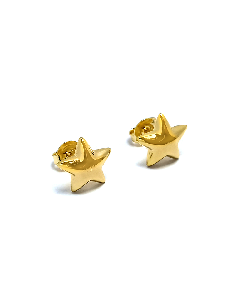 Aros Estrella 10mm Enchapado Oro 18 K