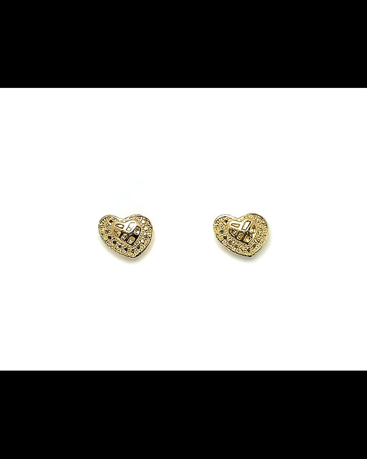 Aros Corazón Enchapado Oro 18 K