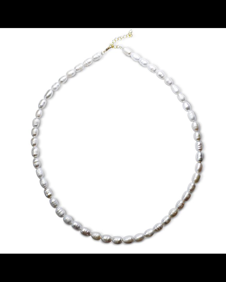 Collar Perlas De Río Blancas Naturales Broche Enchapado Oro 18 K