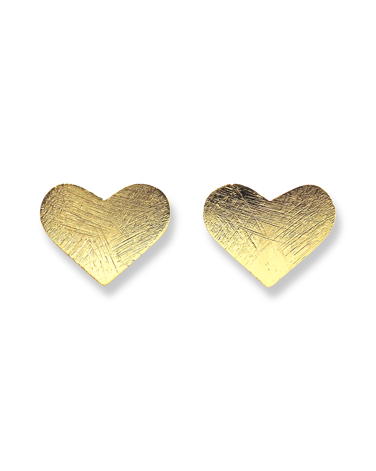 Aros Corazón Satinado Enchapado Oro 18K