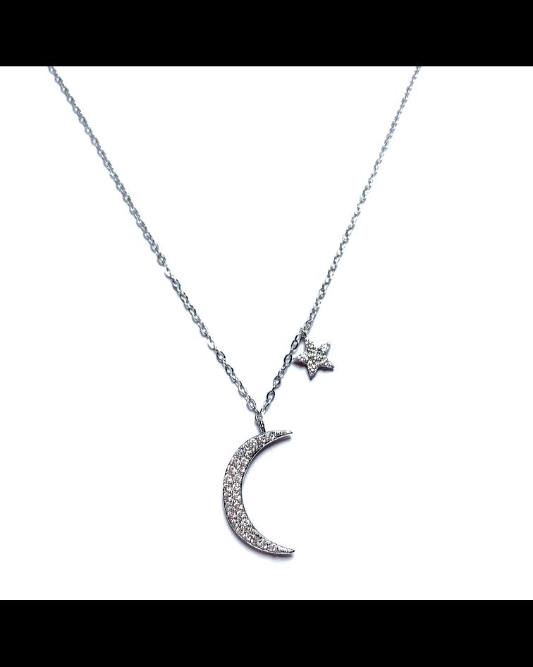 Collar Luna Estrella Circón Plata Fina 925