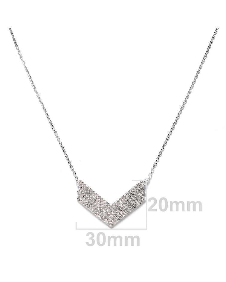 Collar Flecha Circón Plata Fina 925