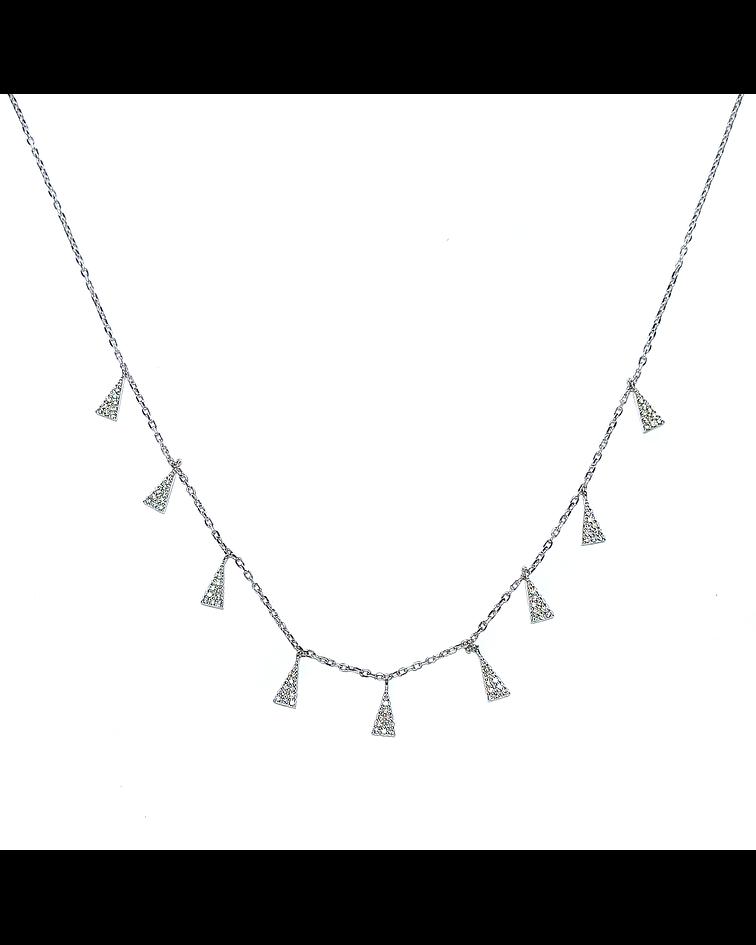 Collar Circón Triángulos Plata Fina 925 49cm