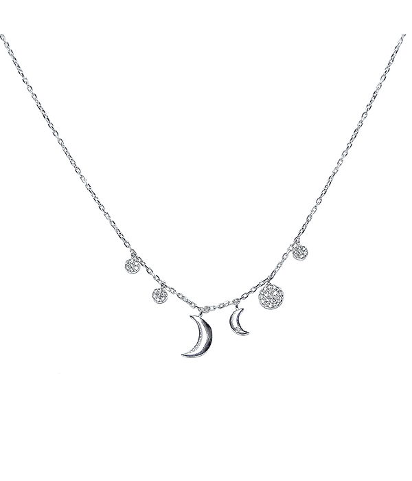 Collar Circón Dos Lunas Plata Fina 925 48cm