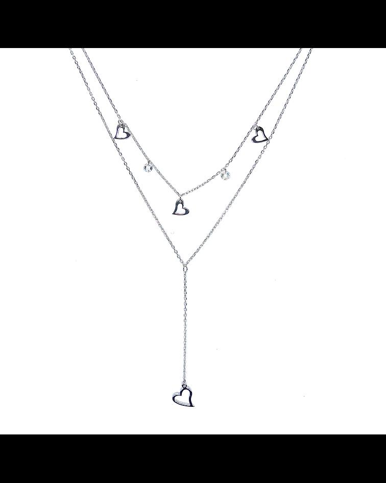 Collar Corazón Calado Doble Plata Fina 925 45cm