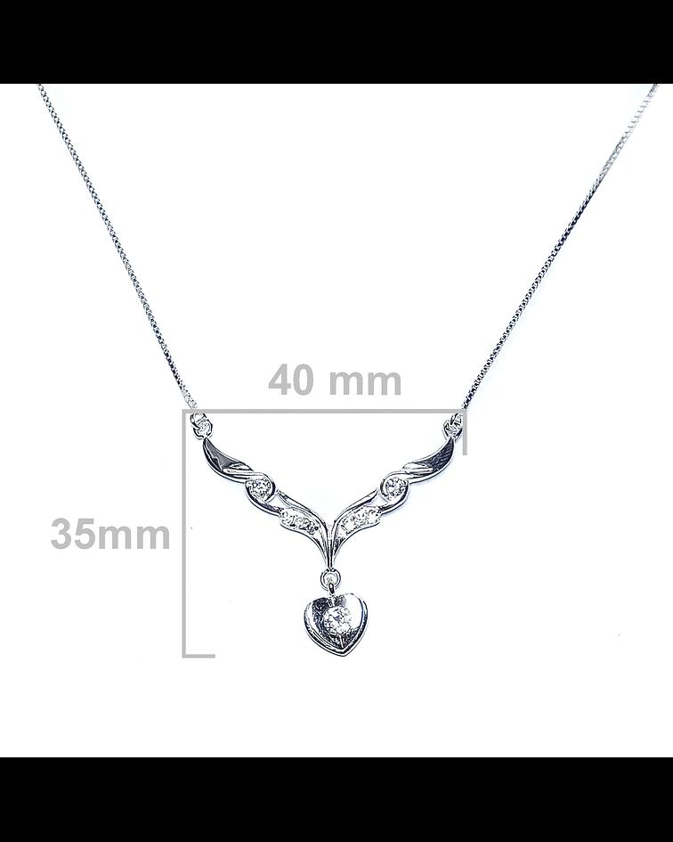 Collar Corazón Circón Plata Fina 925 46cm
