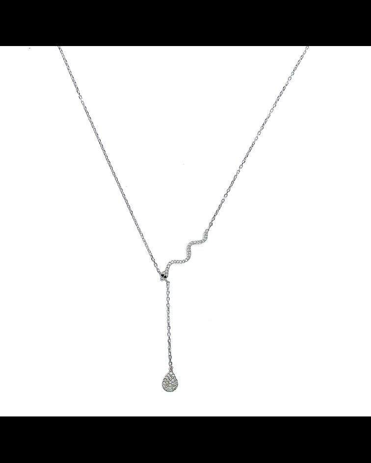 Collar Culebra Circón Plata Fina 925 46cm