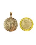 Colgante Medalla San Benito 25mm Enchapado Oro 18 K