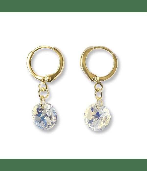 Aros Argolla Cristal Austríaco Aurore Boreale Enchapado Oro 18 K