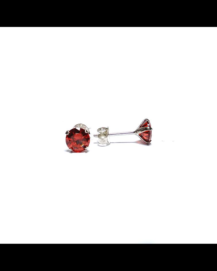 Aros Circón Solitario Rojo 6mm Plata Fina 925