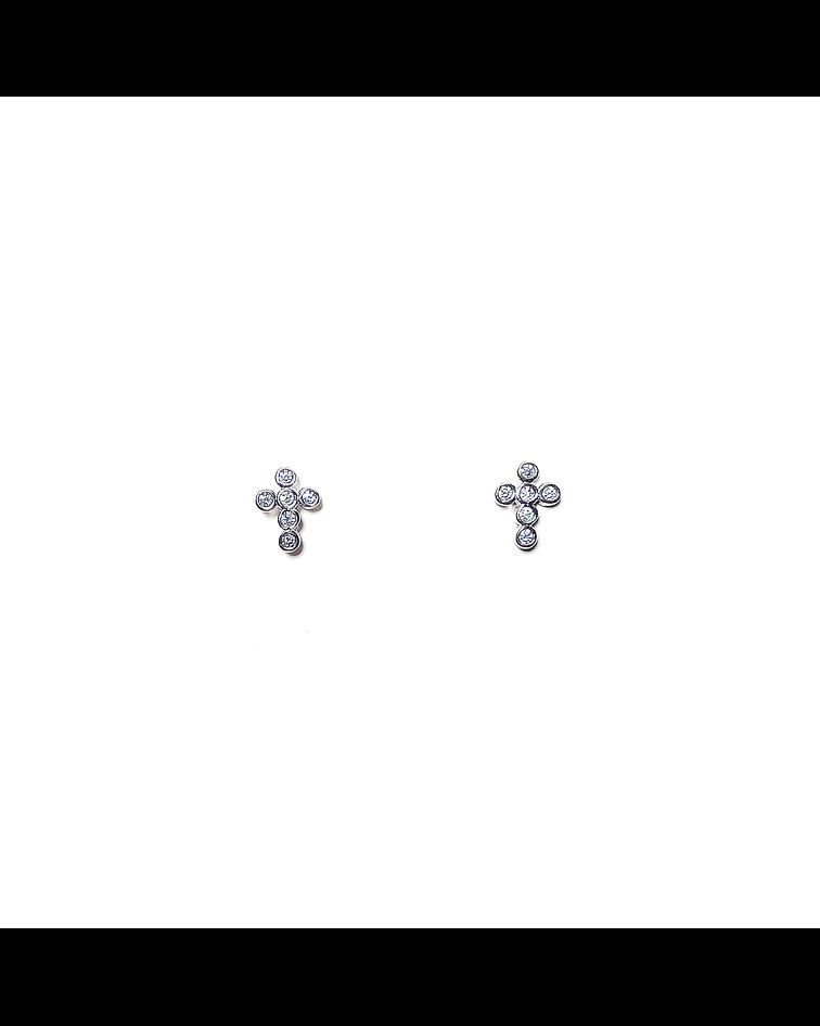 Aros Cruz Mini Circón Plata Fina 925