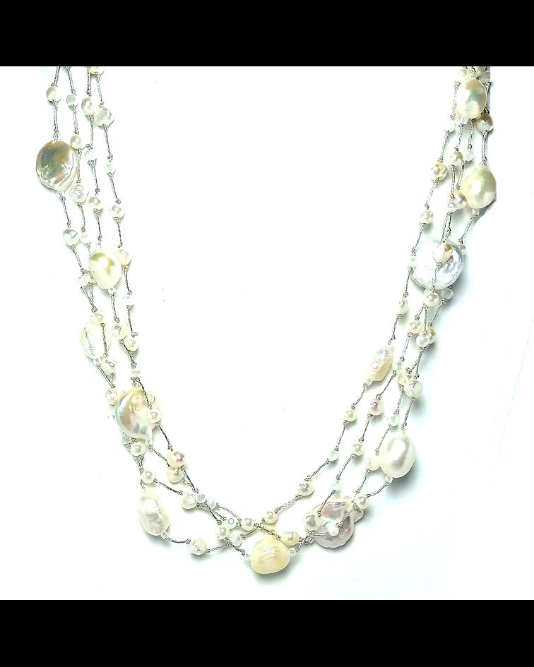Collar Perla De Río Coin Blanca Cristal Hilo De Seda 98cm