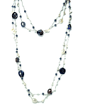 Collar Perla De Río Coin Gris Oscuro Cristales Hilo De Seda 92 cm