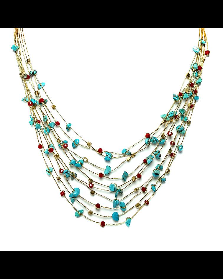 Collar Turquesa Cristales Hilos De Seda Dorados 48cm