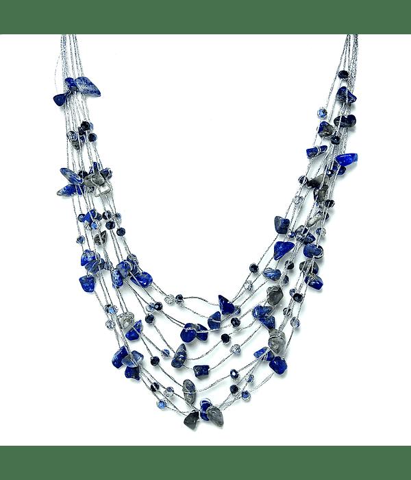 Collar Lapislázuli Cristales Hilos De Seda Plateados 48cm