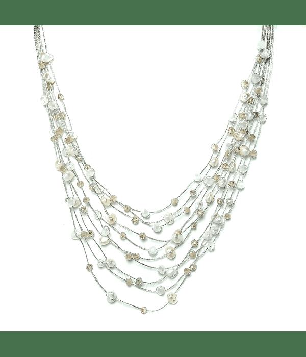 Collar Perlas De Río Blancas Cristales Hilos De Seda Plateados 48cm
