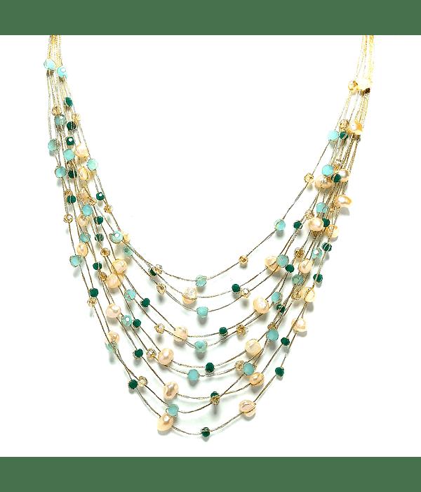 Collar Perlas De Río Rosadas Cristales Hilos De Seda Dorados 48cm