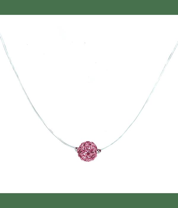 Collar Invisible Bola De Fuego Rosado 8mm Plata Fina 925 45cm