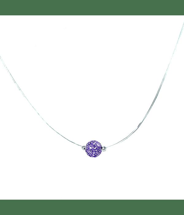Collar Invisible Bola De Fuego Lila 6mm Plata Fina 925 45cm