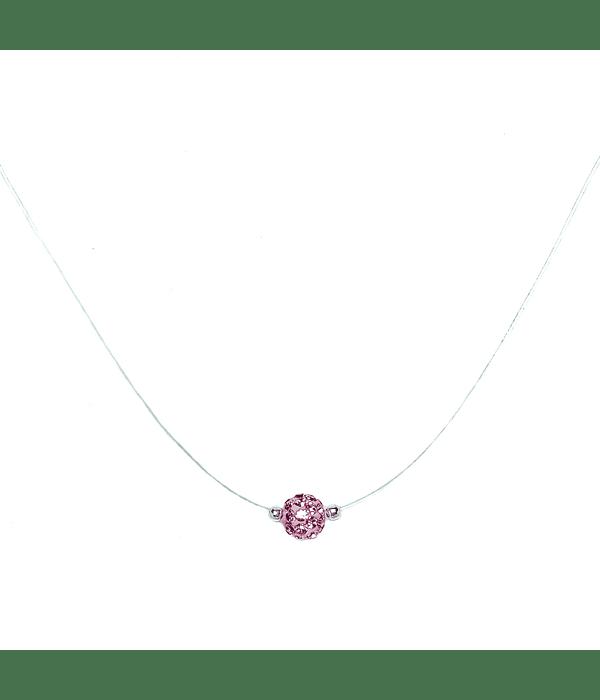 Collar Invisible Bola De Fuego Rosado 6mm Plata Fina 925 45cm
