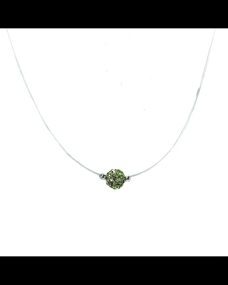 Collar Invisible Bola De Fuego Verde 6mm Plata Fina 925 45cm